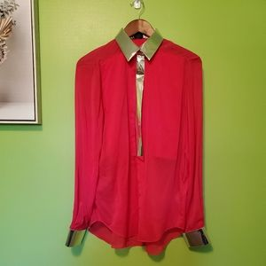 Phillip Lim Magenta and Silver Silk Blouse
